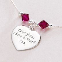 Engraved Silver Heart with Birthstones Necklace